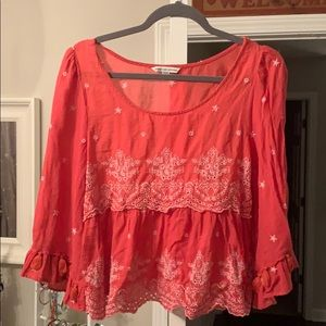 American Eagle pink detailed bell arm blouse